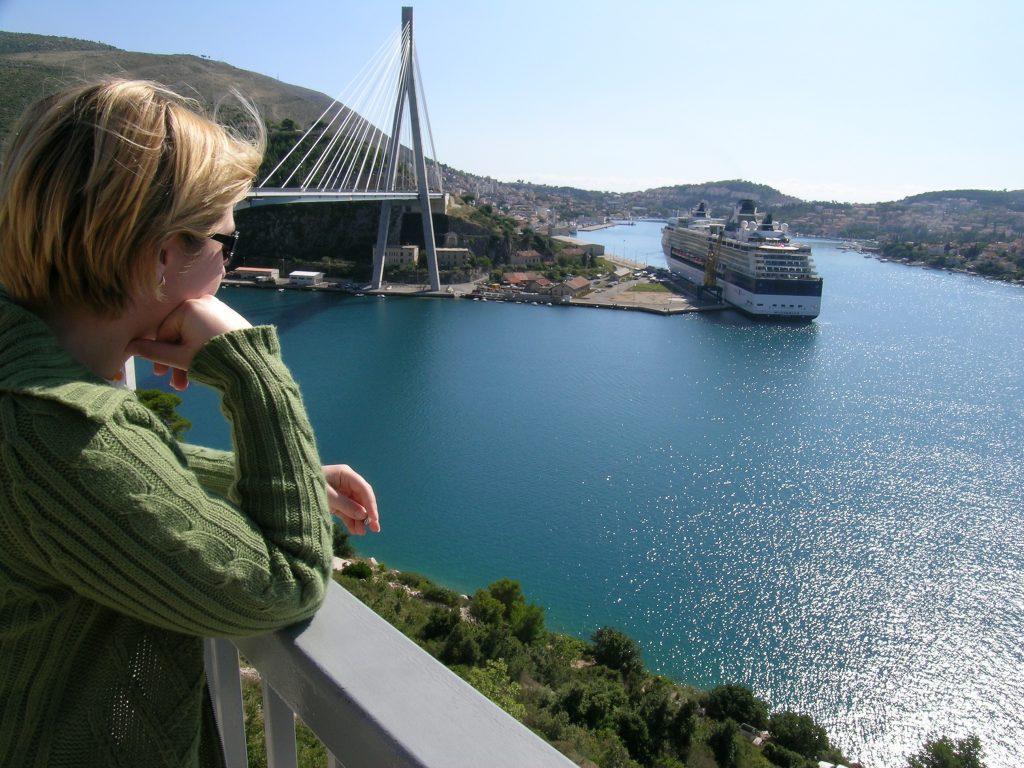 Cruise ship docked in Dubrovnik Croatia