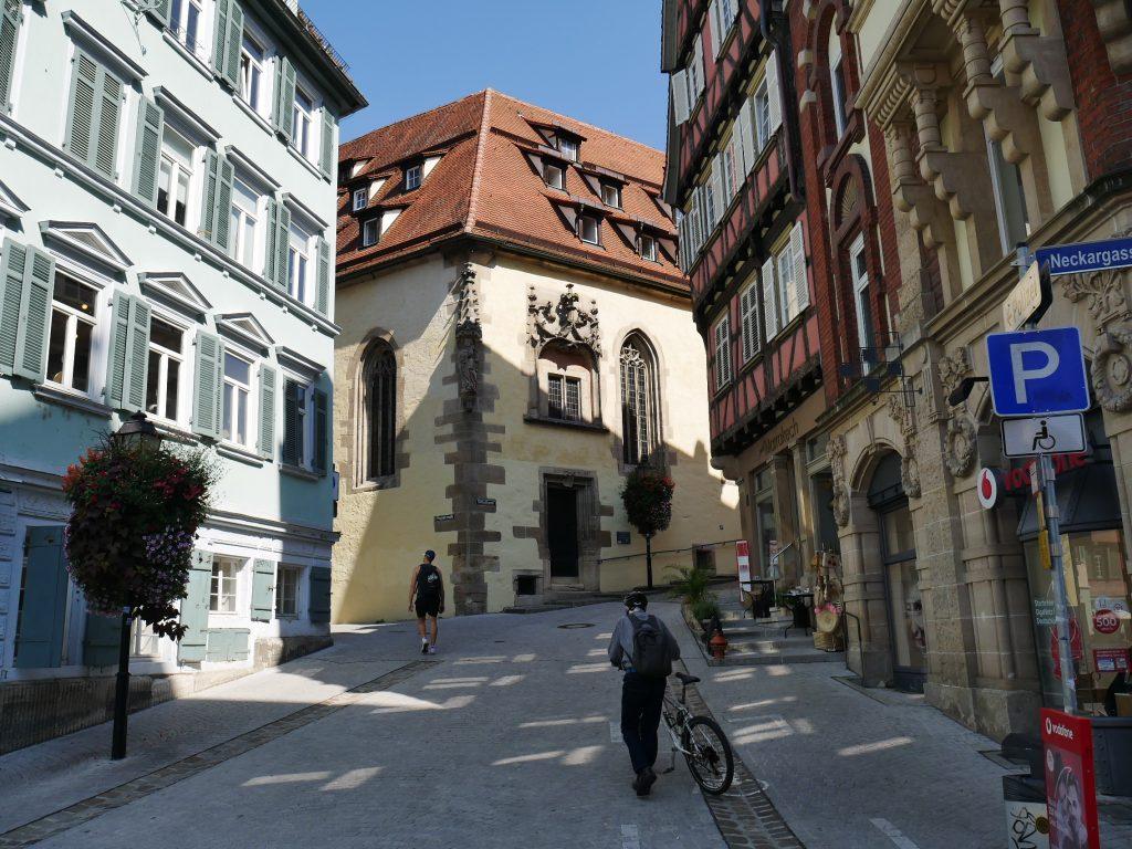 Tubingen Germany Biking up the street