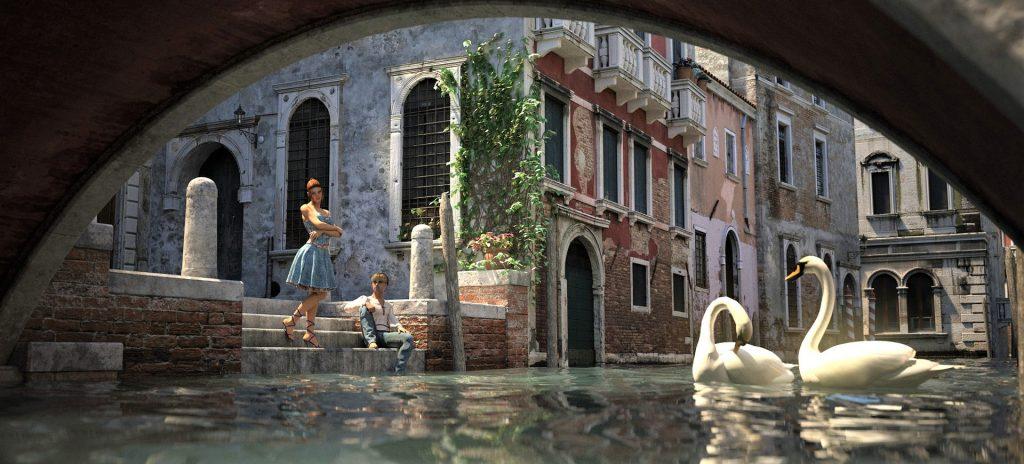 Venice Canals Swans Statues Art