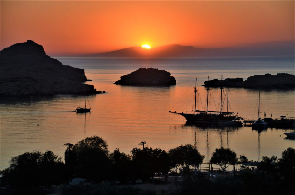 Rhodes Greece Mediterranean Sunset Yachts Sailing