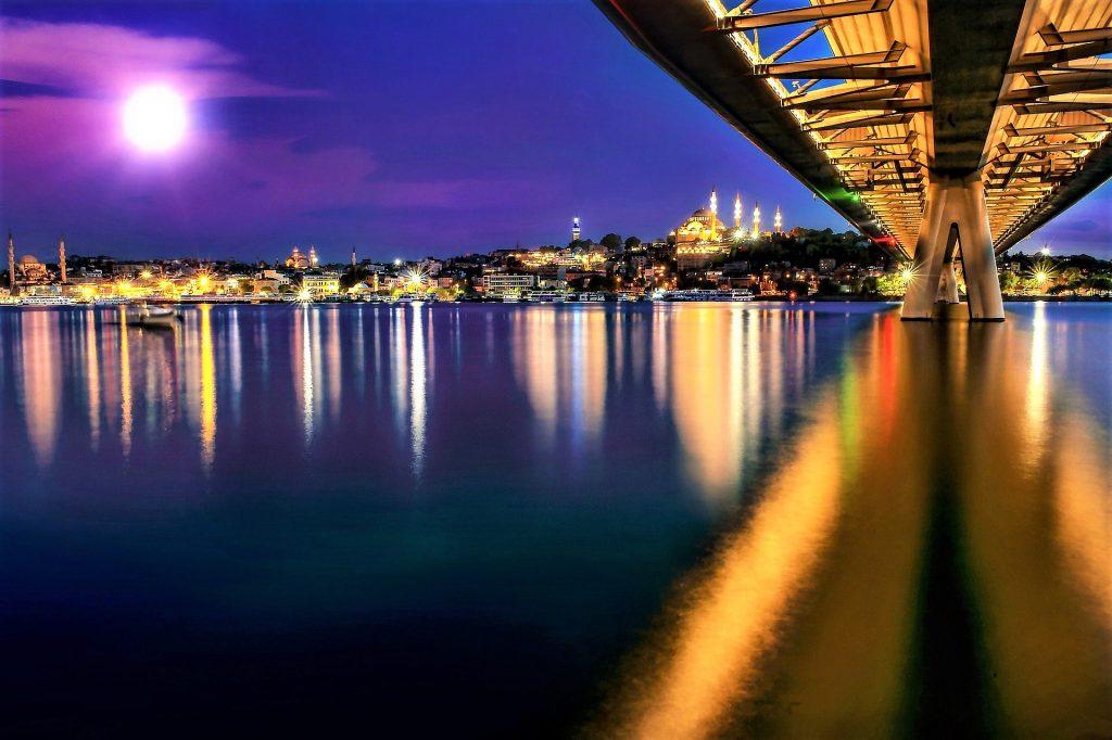 Ataturk Bridge, Istanbul. Golden Horn Between Europe And Asia