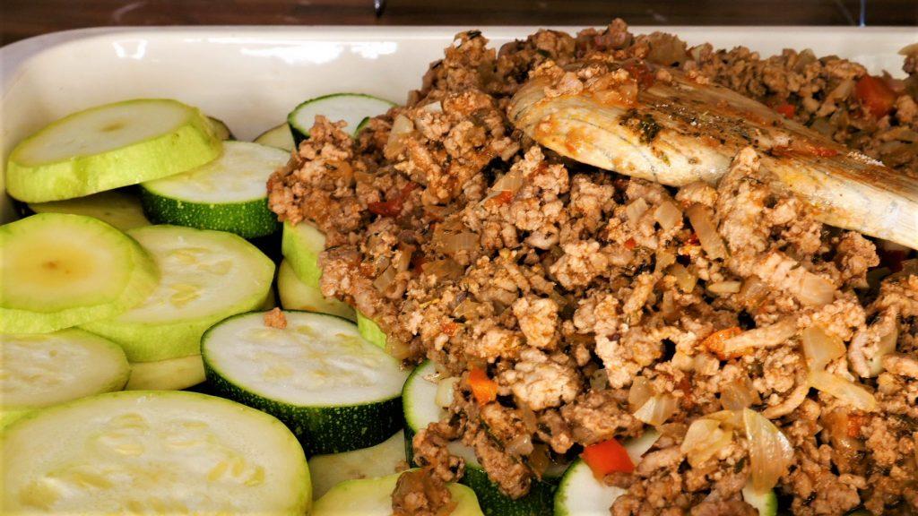moussaka ingredients tray