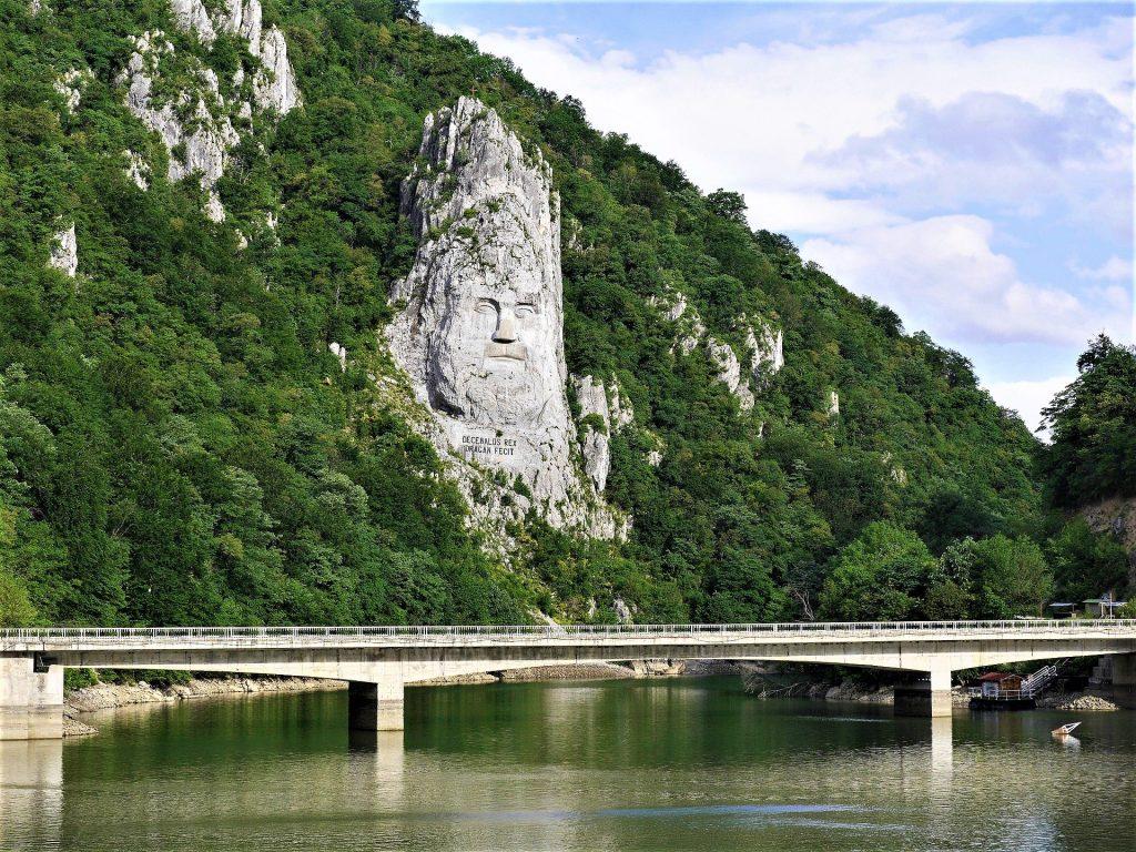 River Danube mountain sculpture Romania
