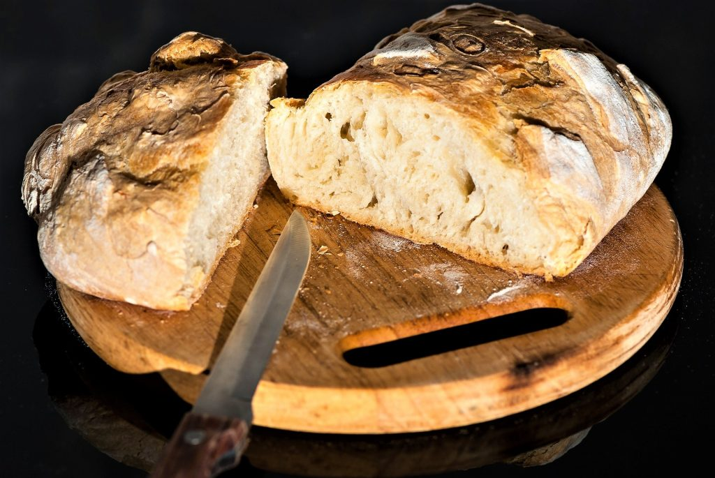 Cut ciabatta bread