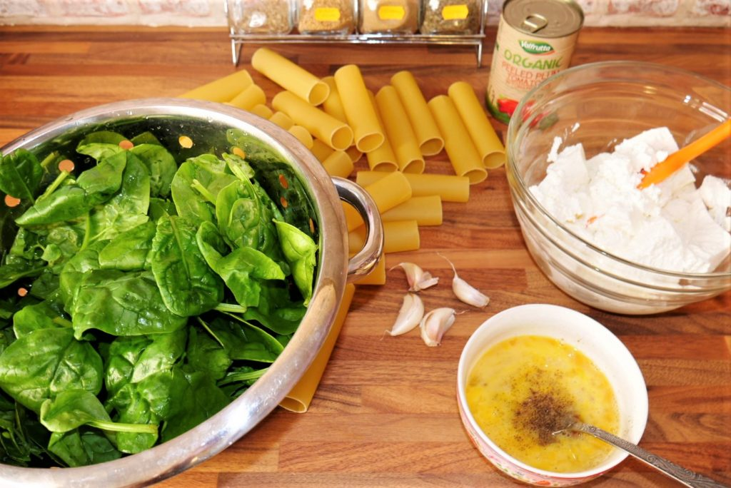Spinach and ricotta cannelloni ingredients