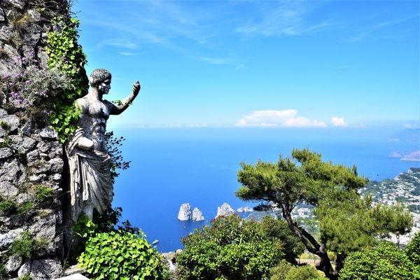 Handles statue of Emperor Augustus on Mount Solaro, Capri Italy