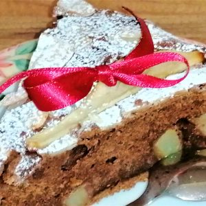 chocolate, pear and almond cake slice