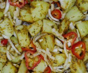 potatoes in roasting tray