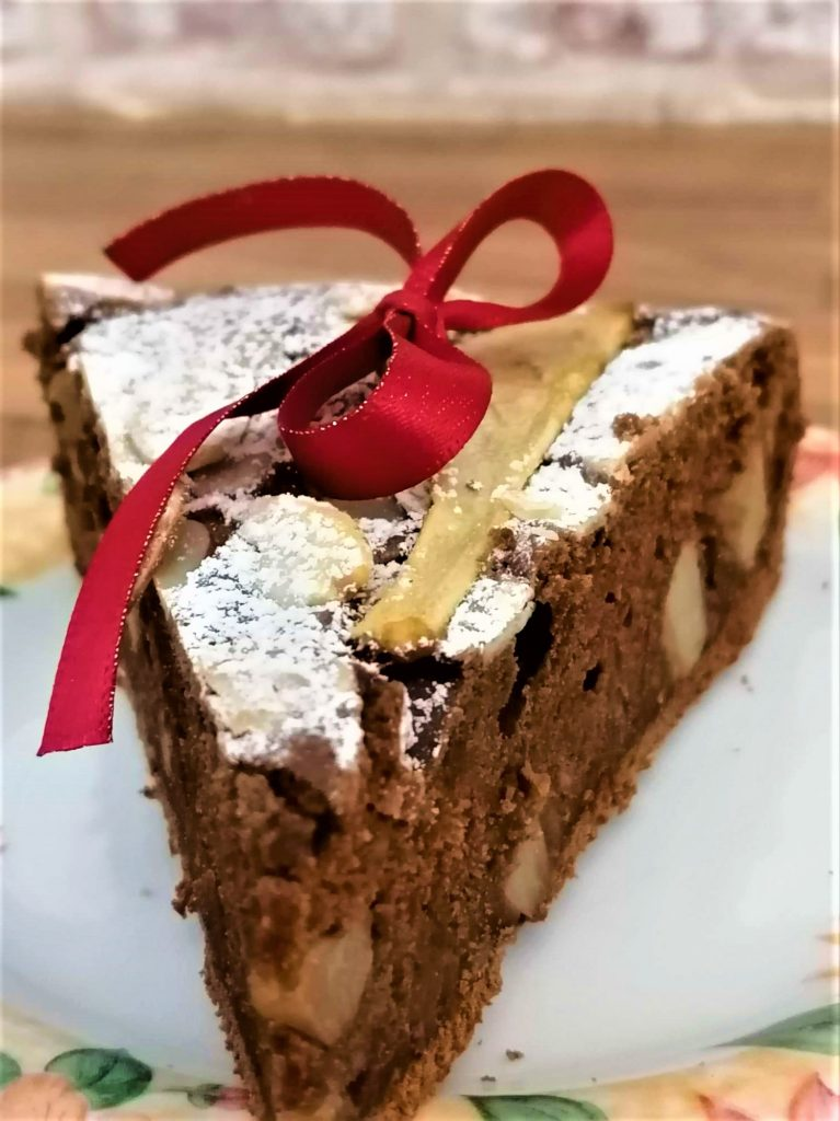 pear and almond chocolate cake slice