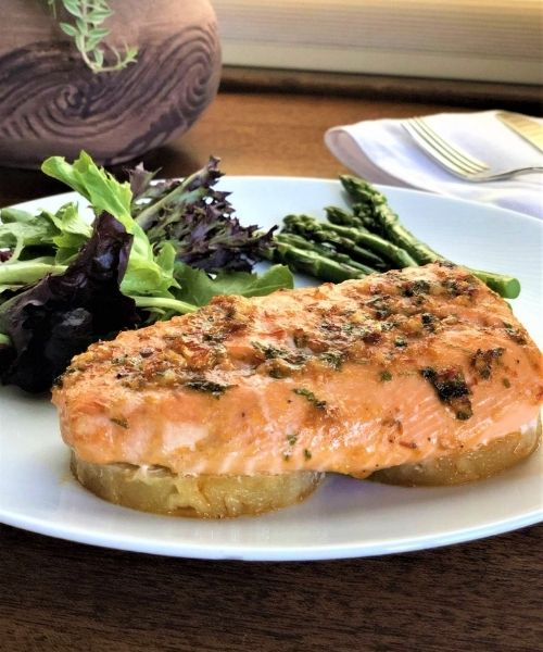 baked salmon for a romantic valentine's day dinner