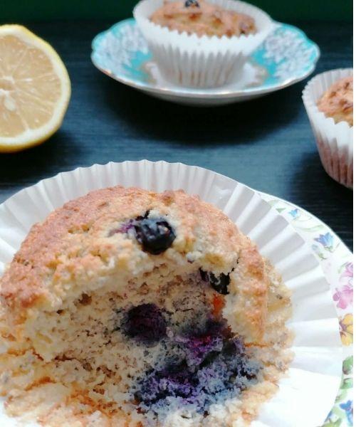 bite of almond flour muffin