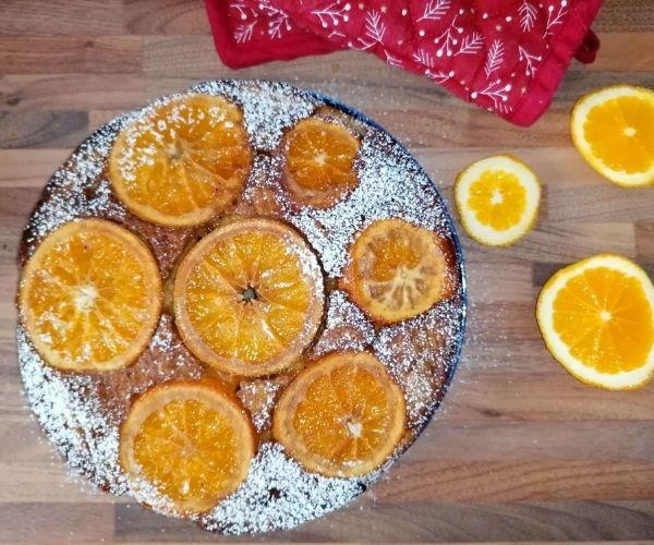 orange and ricotta upside down cake ready baked