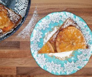 slice of upside down orange and ricotta cake