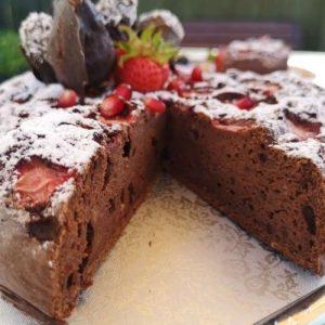 boozy chocolate-dipped strawberries chocolate cake