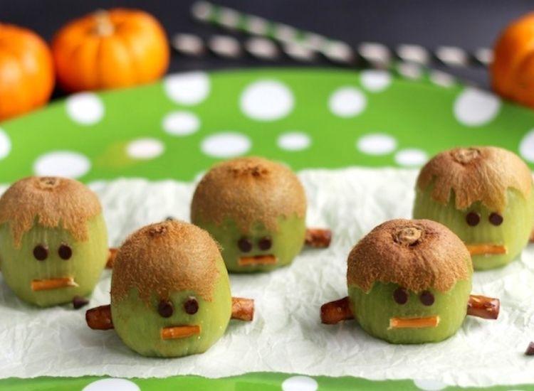 Frankenstein kiwies healthy Halloween treats