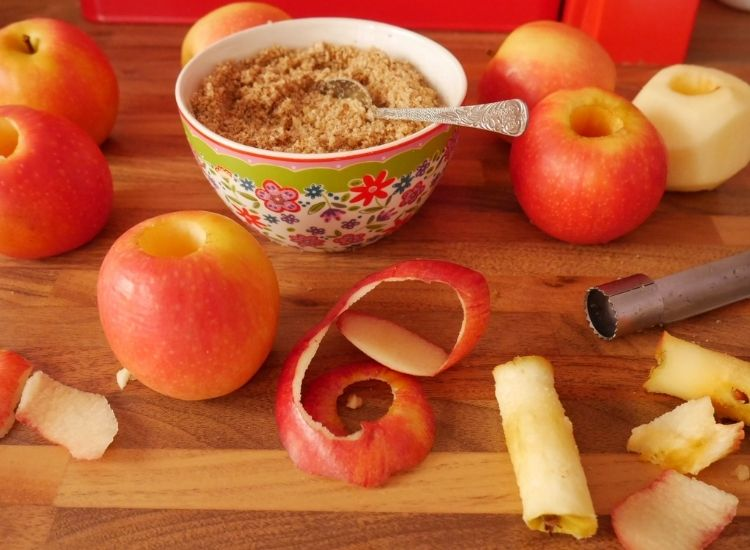 cored apples and nut filling