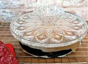 cake stand over tray