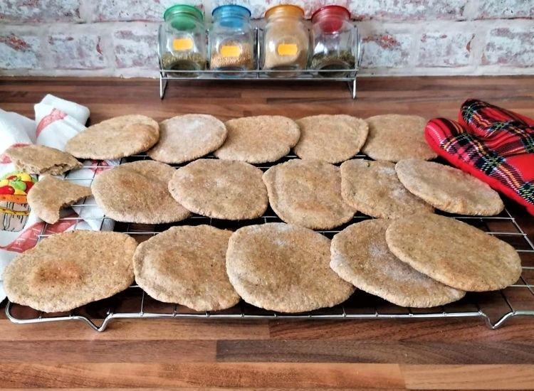 pita bread on cooling rack