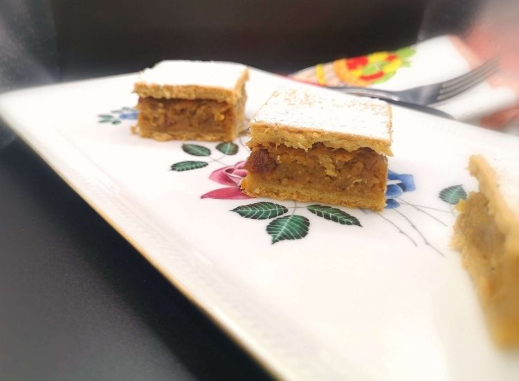 cubes of pumpkin cake with creamy filling